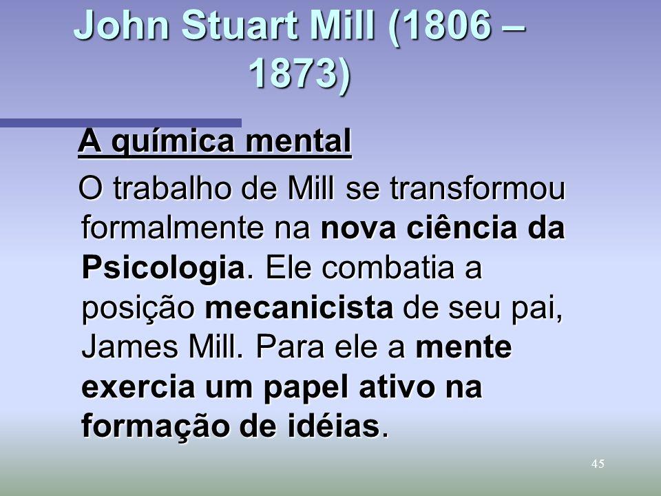 John Stuart Mill (1806 –1873) A química mental