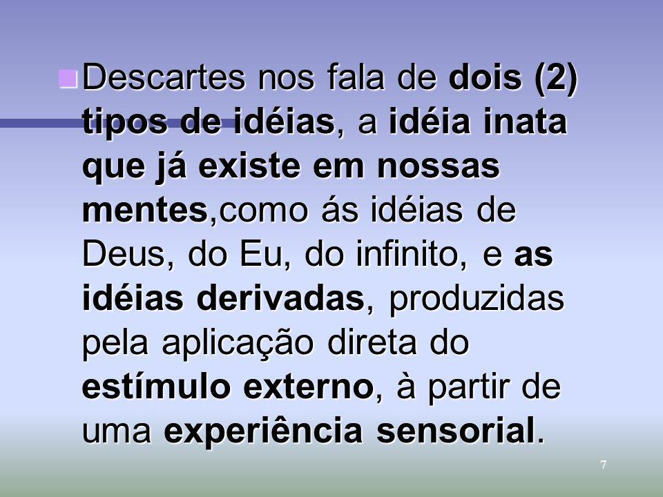 Descartes nos fala de dois (2) tipos de idéias, a idéia inata que já existe em nossas mentes,como ás idéias de Deus, do Eu, do infinito, e as idéias derivadas, produzidas pela aplicação direta do estímulo externo, à partir de uma experiência sensorial.