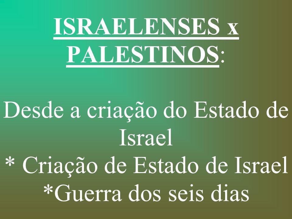 ISRAELENSES x PALESTINOS: Desde a criação do Estado de Israel