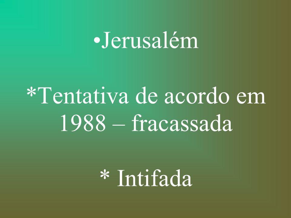 Jerusalém *Tentativa de acordo em 1988 – fracassada * Intifada