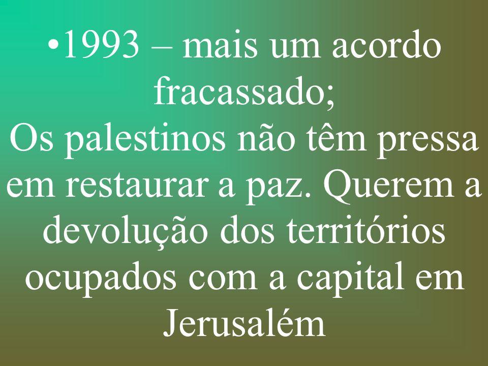 1993 – mais um acordo fracassado; Os palestinos não têm pressa em restaurar a paz.