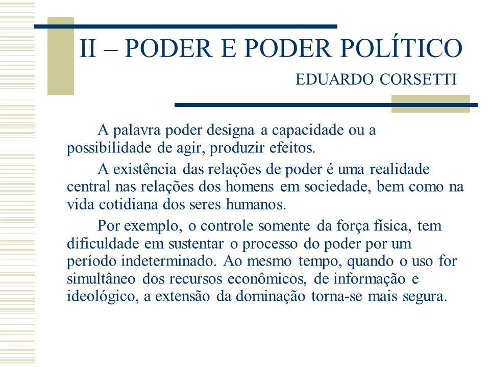 II – PODER E PODER POLÍTICO EDUARDO CORSETTI