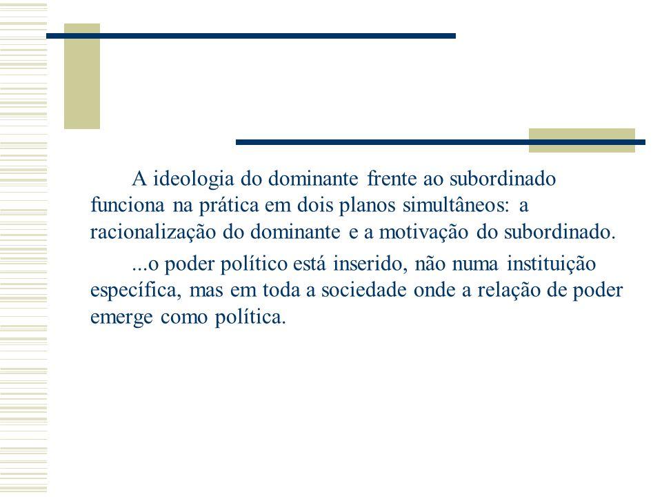 A ideologia do dominante frente ao subordinado funciona na prática em dois planos simultâneos: a racionalização do dominante e a motivação do subordinado.