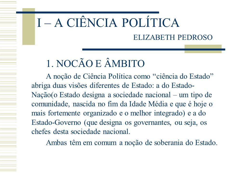 I – A CIÊNCIA POLÍTICA ELIZABETH PEDROSO