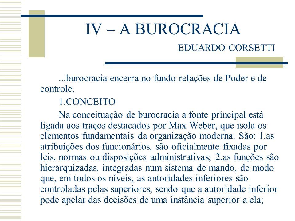 IV – A BUROCRACIA EDUARDO CORSETTI