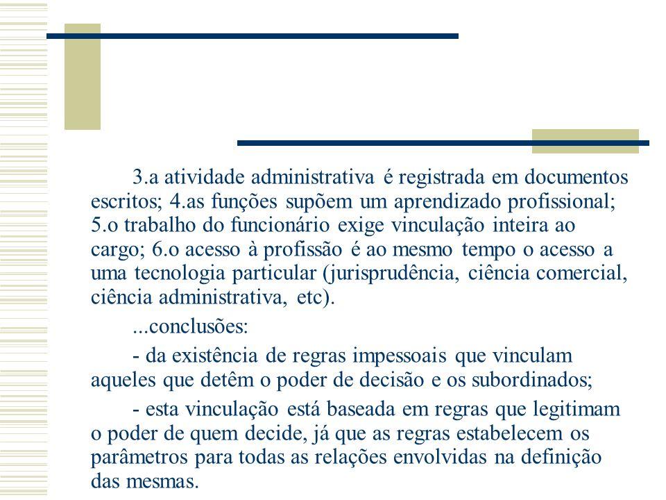 3. a atividade administrativa é registrada em documentos escritos; 4