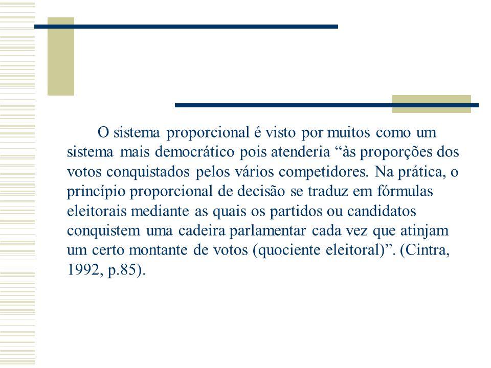 O sistema proporcional é visto por muitos como um sistema mais democrático pois atenderia às proporções dos votos conquistados pelos vários competidores.
