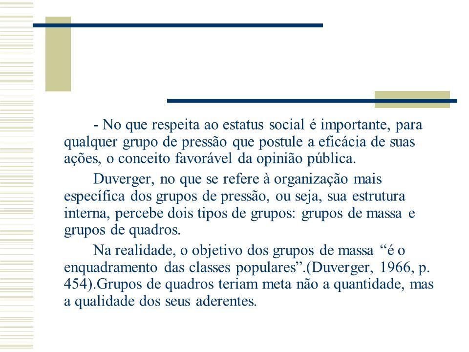 - No que respeita ao estatus social é importante, para qualquer grupo de pressão que postule a eficácia de suas ações, o conceito favorável da opinião pública.