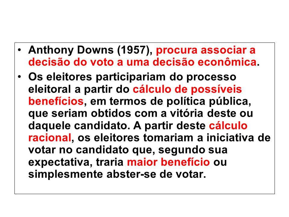 Anthony Downs (1957), procura associar a decisão do voto a uma decisão econômica.