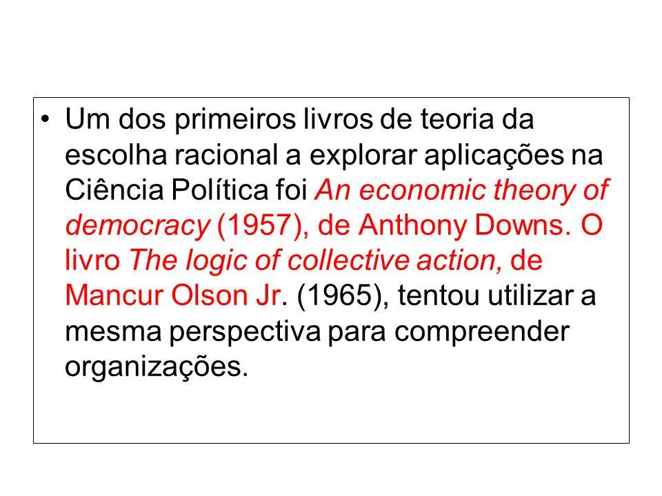 Um dos primeiros livros de teoria da escolha racional a explorar aplicações na Ciência Política foi An economic theory of democracy (1957), de Anthony Downs.