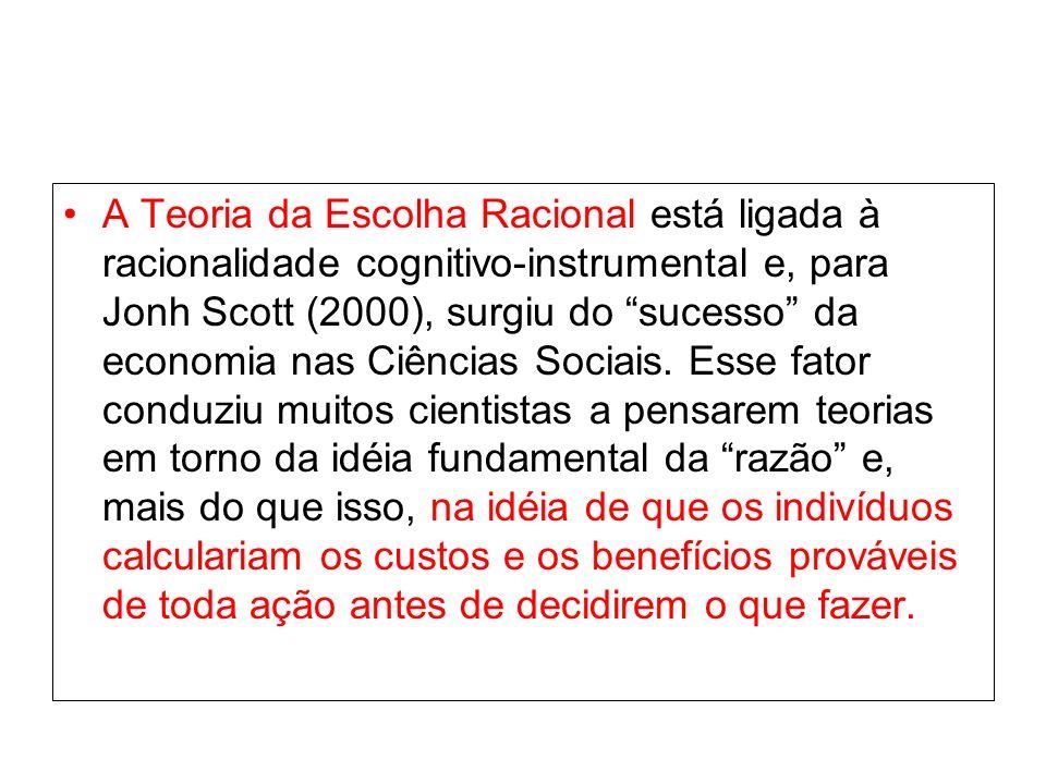 A Teoria da Escolha Racional está ligada à racionalidade cognitivo-instrumental e, para Jonh Scott (2000), surgiu do sucesso da economia nas Ciências Sociais.