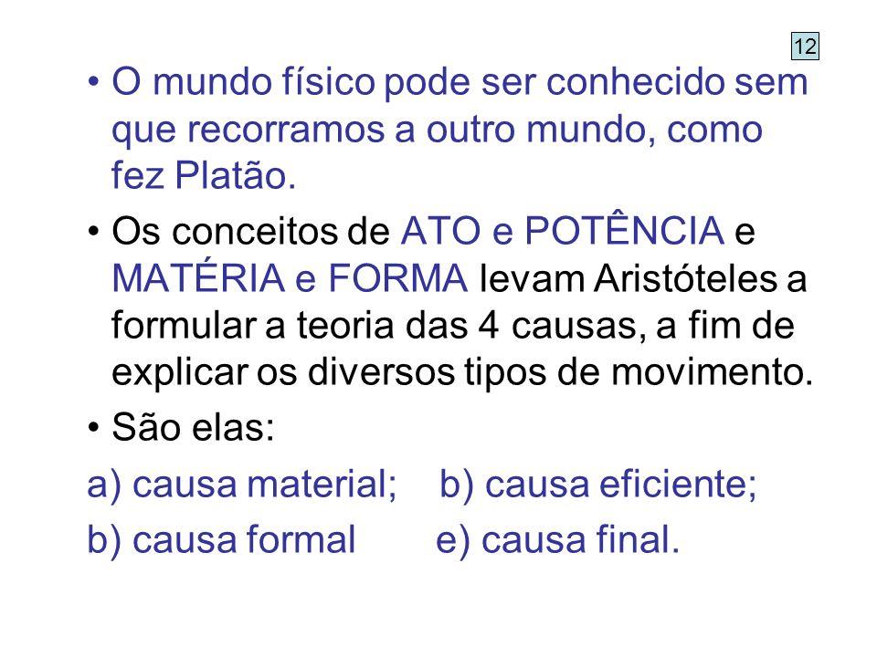 causa material; b) causa eficiente; causa formal e) causa final.