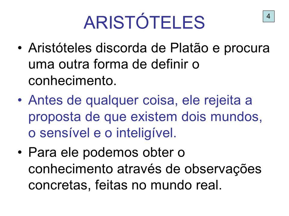 ARISTÓTELES 4. Aristóteles discorda de Platão e procura uma outra forma de definir o conhecimento.