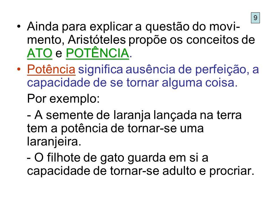 9 Ainda para explicar a questão do movi-mento, Aristóteles propõe os conceitos de ATO e POTÊNCIA.