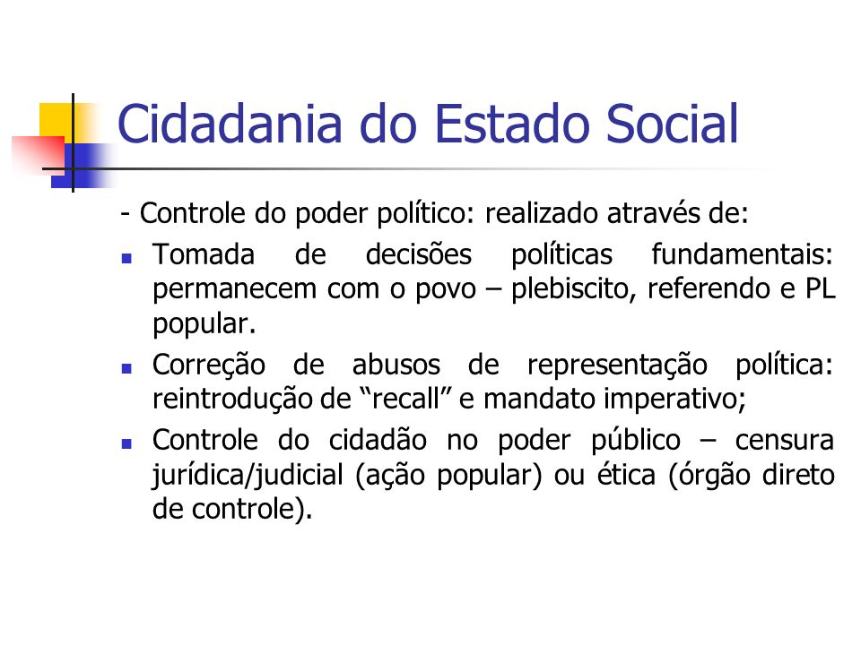 Cidadania do Estado Social