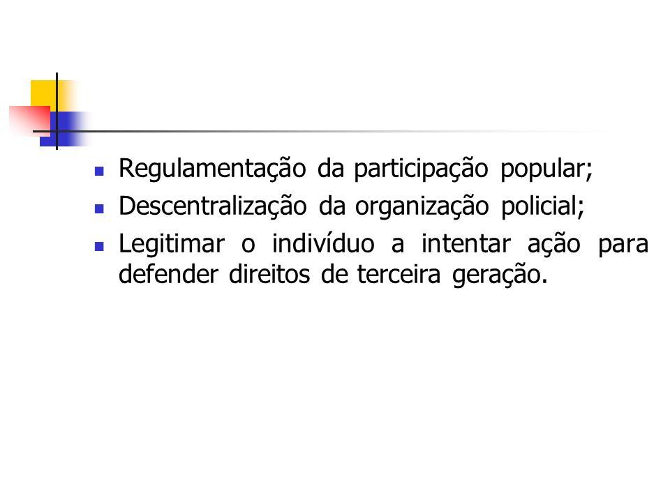 Regulamentação da participação popular;