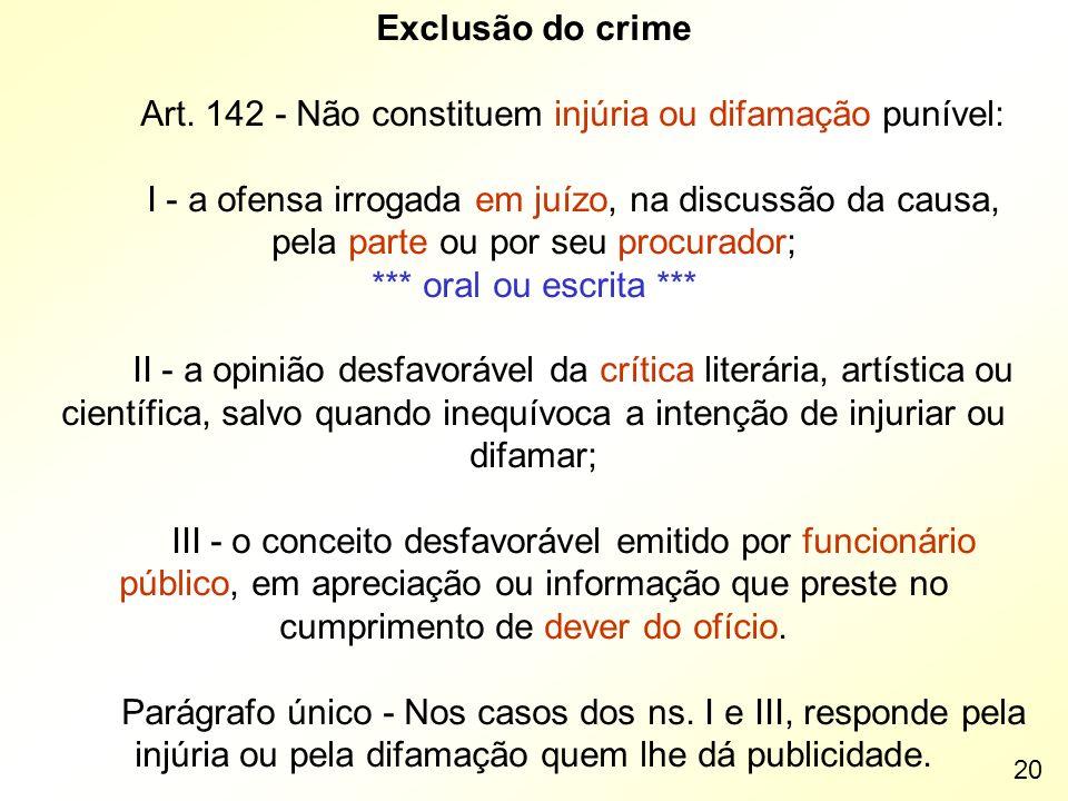 Art. 142 - Não constituem injúria ou difamação punível: