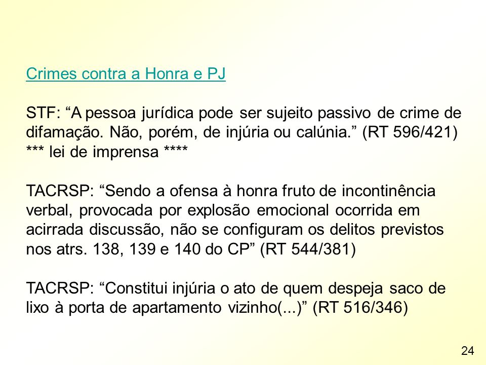 Crimes contra a Honra e PJ