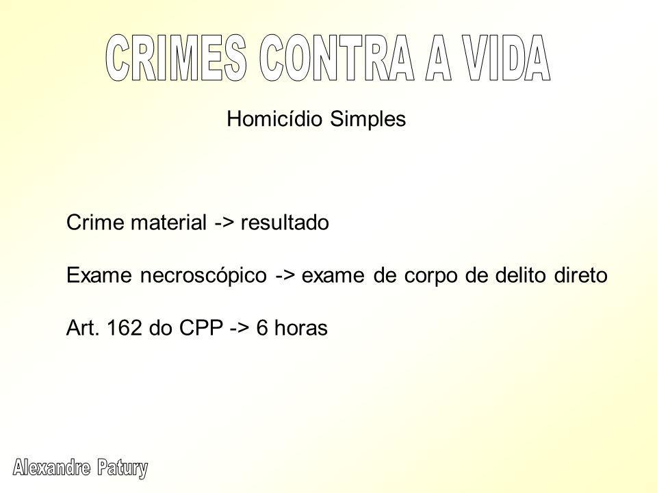 CRIMES CONTRA A VIDA Homicídio Simples Crime material -> resultado