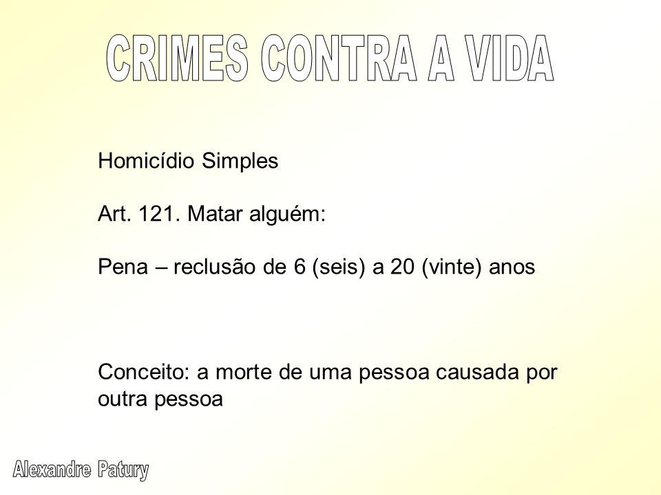 CRIMES CONTRA A VIDA Homicídio Simples Art. 121. Matar alguém: