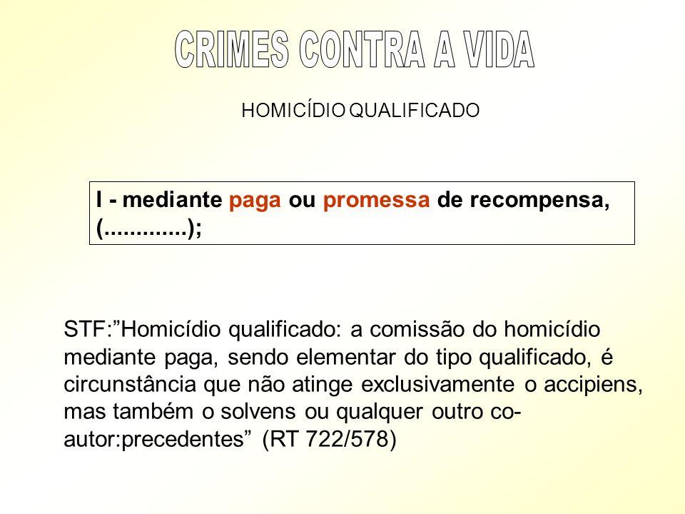 CRIMES CONTRA A VIDA HOMICÍDIO QUALIFICADO. I - mediante paga ou promessa de recompensa, (.............);