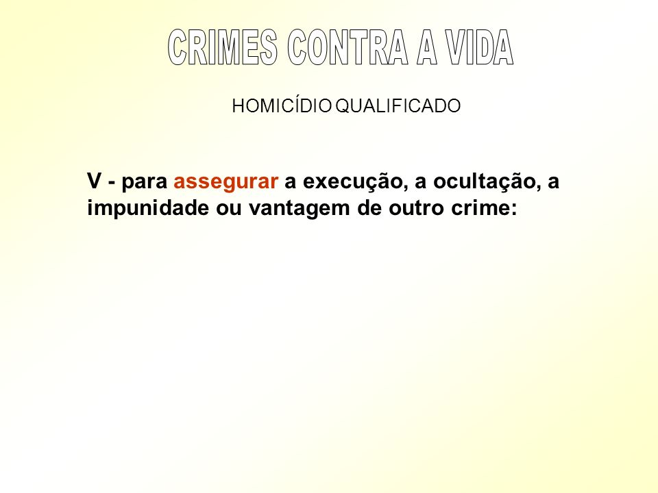 CRIMES CONTRA A VIDA HOMICÍDIO QUALIFICADO.