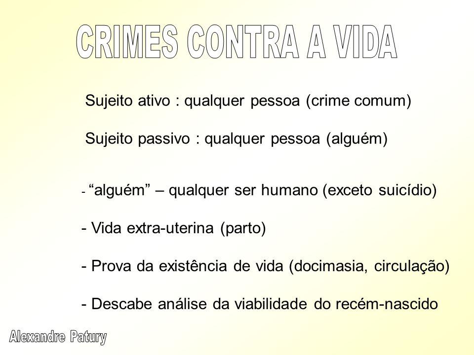 CRIMES CONTRA A VIDA Sujeito ativo : qualquer pessoa (crime comum)