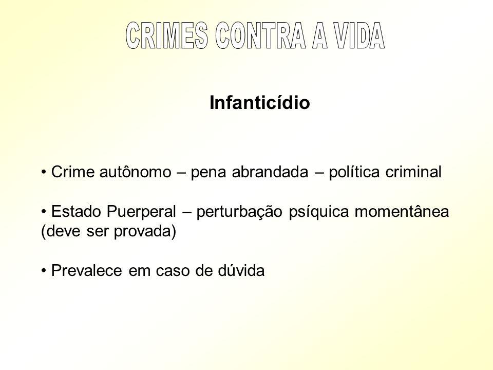 CRIMES CONTRA A VIDA Infanticídio. Crime autônomo – pena abrandada – política criminal.