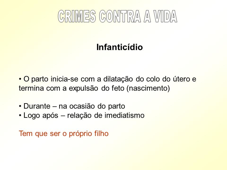CRIMES CONTRA A VIDA Infanticídio. O parto inicia-se com a dilatação do colo do útero e termina com a expulsão do feto (nascimento)