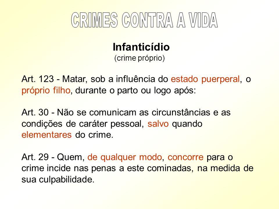 CRIMES CONTRA A VIDA Infanticídio. (crime próprio)