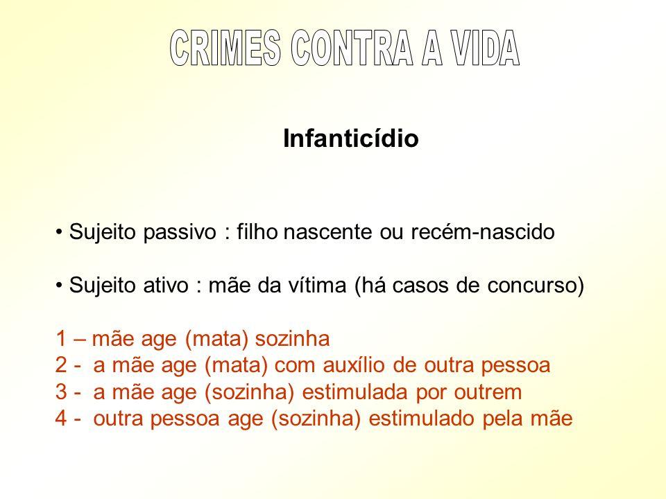 CRIMES CONTRA A VIDA Sujeito passivo : filho nascente ou recém-nascido