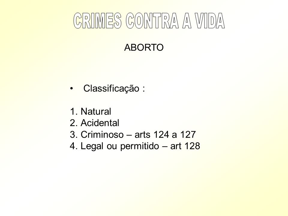 CRIMES CONTRA A VIDA ABORTO Classificação : Natural Acidental