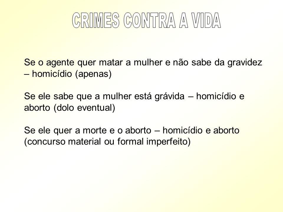 CRIMES CONTRA A VIDA Se o agente quer matar a mulher e não sabe da gravidez – homicídio (apenas)