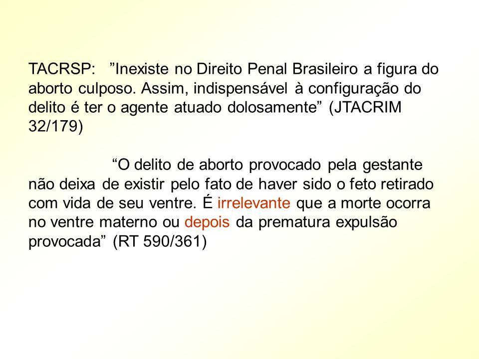 TACRSP: Inexiste no Direito Penal Brasileiro a figura do aborto culposo. Assim, indispensável à configuração do delito é ter o agente atuado dolosamente (JTACRIM 32/179)