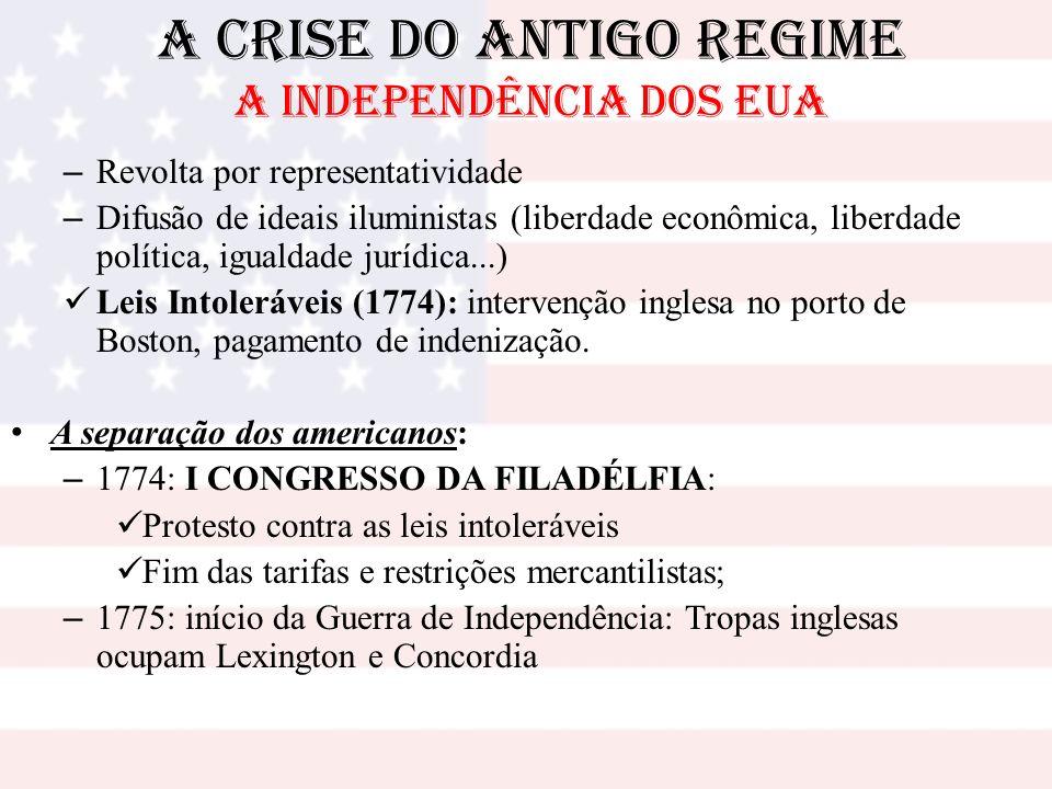 A Crise do Antigo Regime A INDEPENDÊNCIA DOS EUA