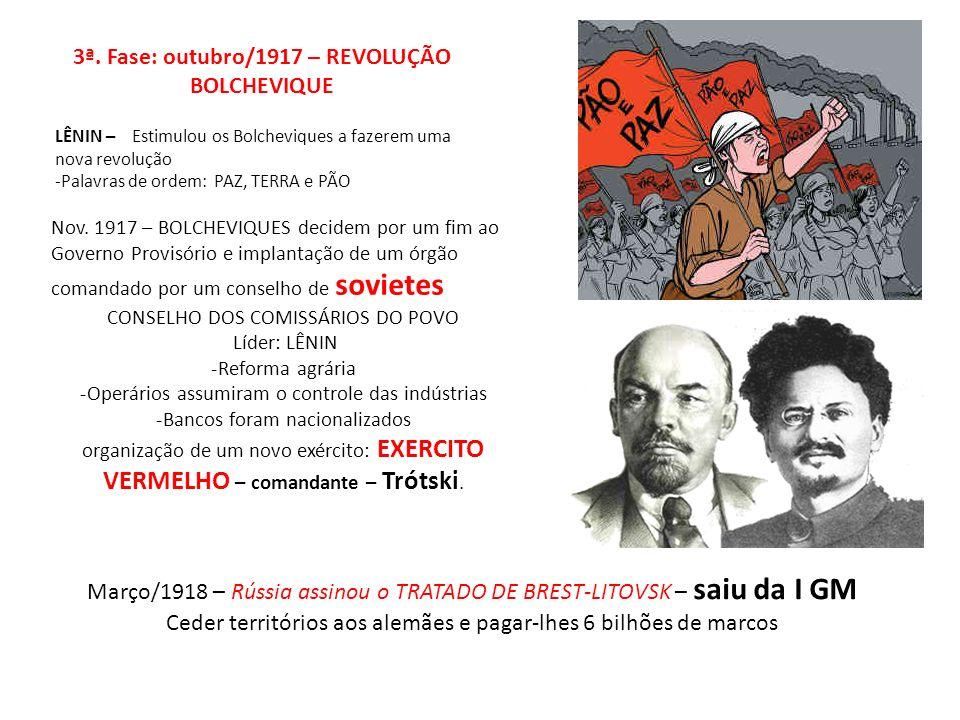 3ª. Fase: outubro/1917 – REVOLUÇÃO BOLCHEVIQUE