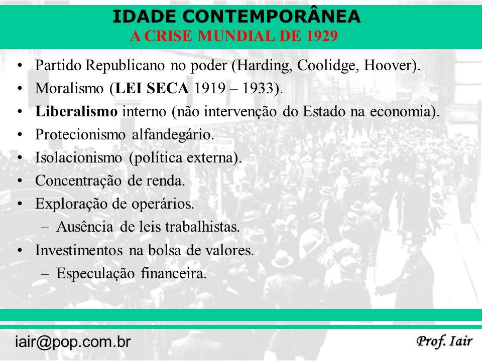 Partido Republicano no poder (Harding, Coolidge, Hoover).