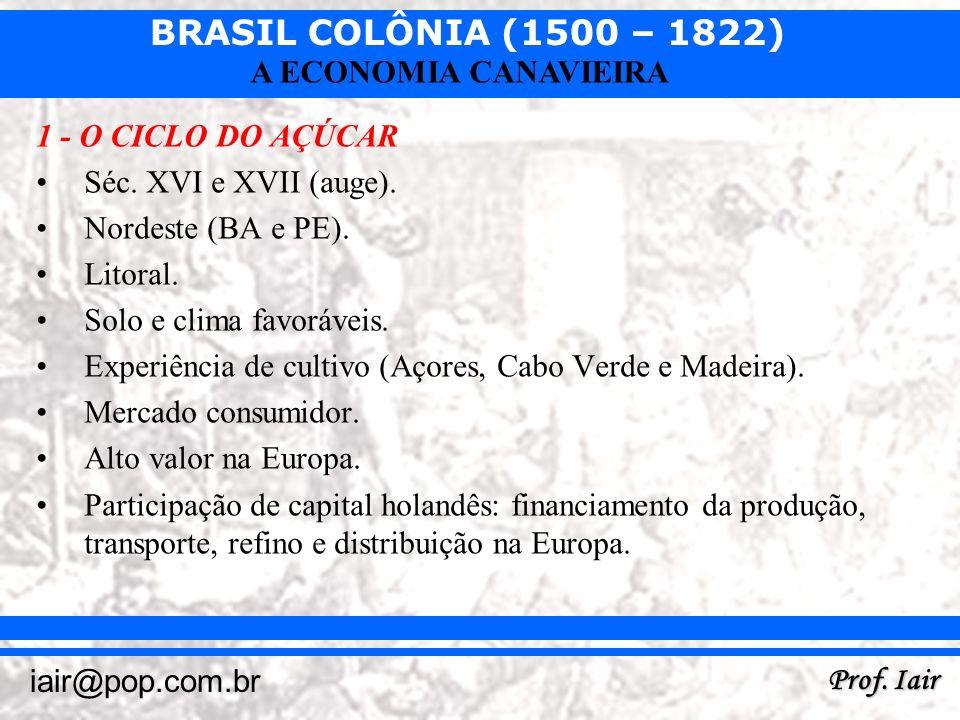 1 - O CICLO DO AÇÚCAR Séc. XVI e XVII (auge). Nordeste (BA e PE). Litoral. Solo e clima favoráveis.