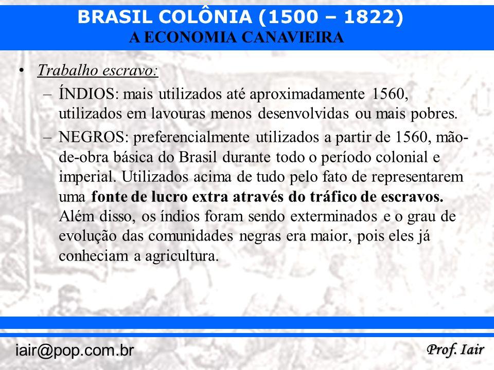Trabalho escravo: ÍNDIOS: mais utilizados até aproximadamente 1560, utilizados em lavouras menos desenvolvidas ou mais pobres.