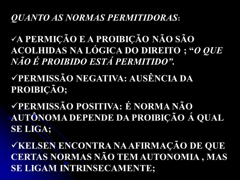 QUANTO AS NORMAS PERMITIDORAS: