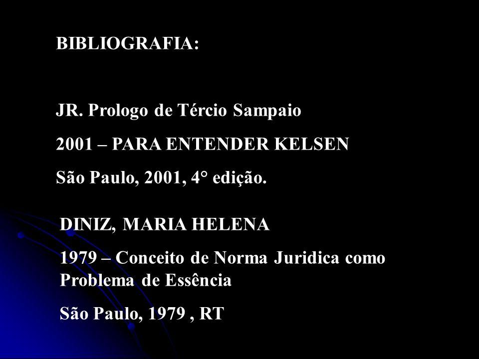 BIBLIOGRAFIA: JR. Prologo de Tércio Sampaio. 2001 – PARA ENTENDER KELSEN. São Paulo, 2001, 4° edição.