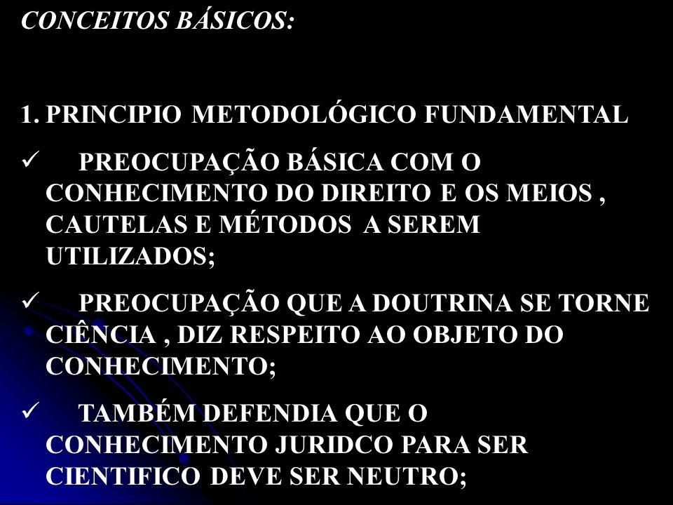CONCEITOS BÁSICOS: PRINCIPIO METODOLÓGICO FUNDAMENTAL.