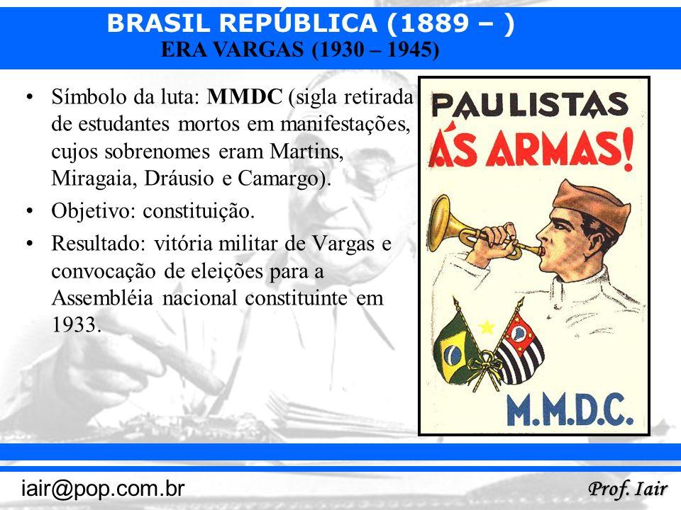 Símbolo da luta: MMDC (sigla retirada de estudantes mortos em manifestações, cujos sobrenomes eram Martins, Miragaia, Dráusio e Camargo).