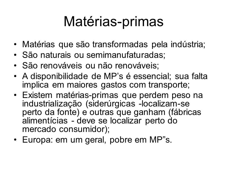 Matérias-primas Matérias que são transformadas pela indústria;