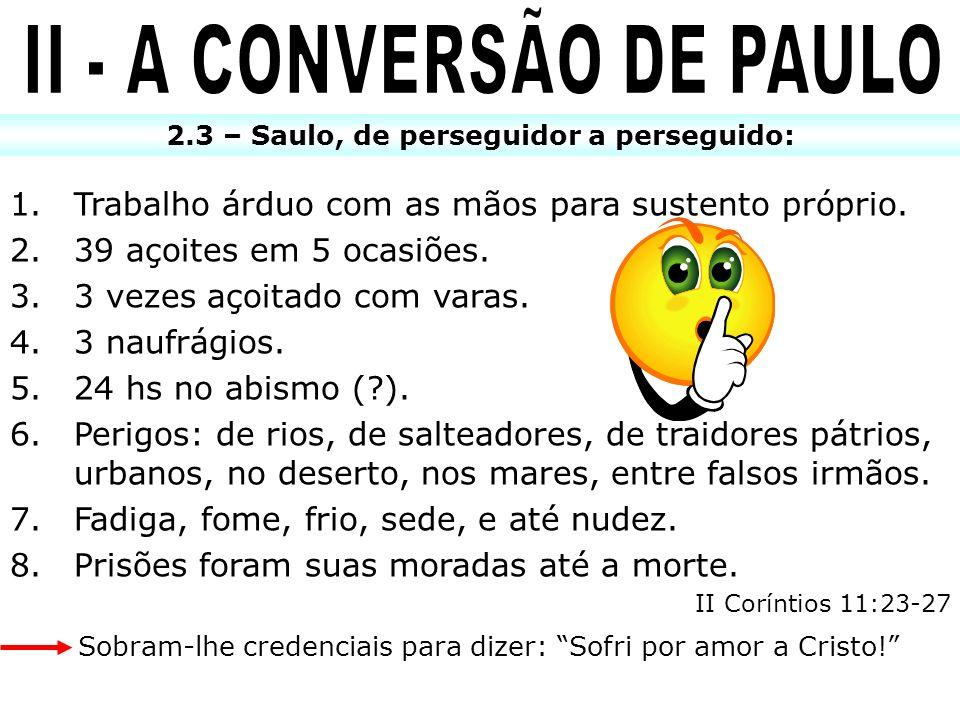 II - A CONVERSÃO DE PAULO 2.3 – Saulo, de perseguidor a perseguido: