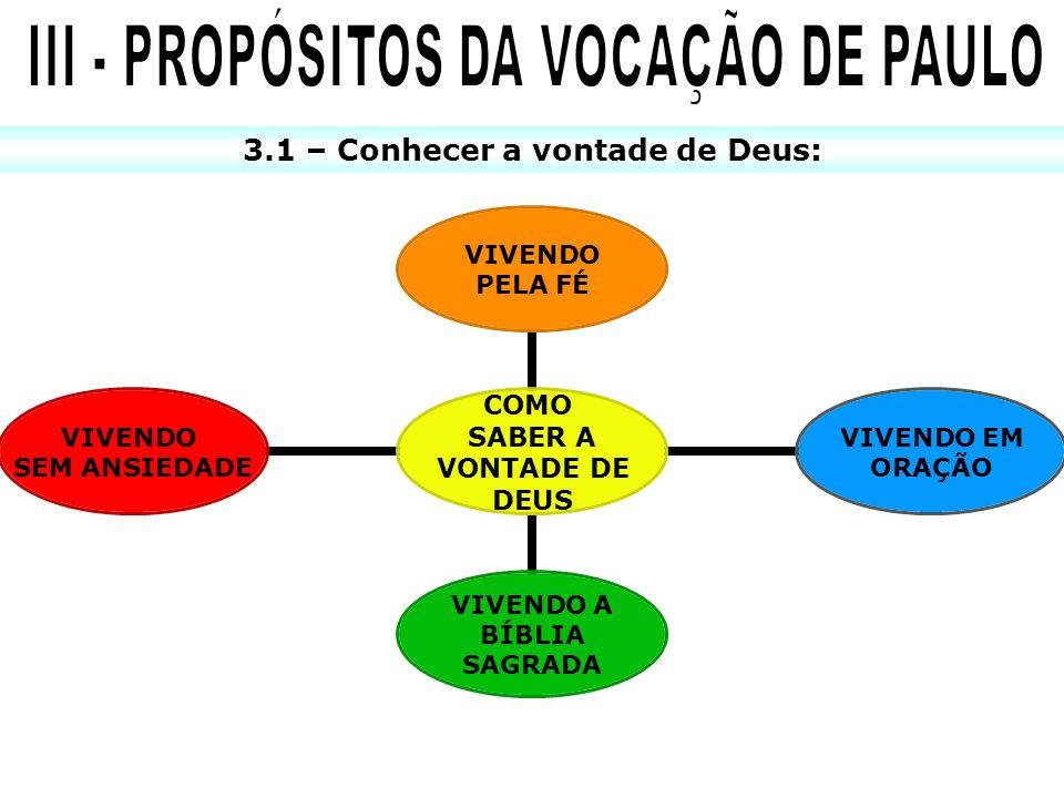 III - PROPÓSITOS DA VOCAÇÃO DE PAULO 3.1 – Conhecer a vontade de Deus: