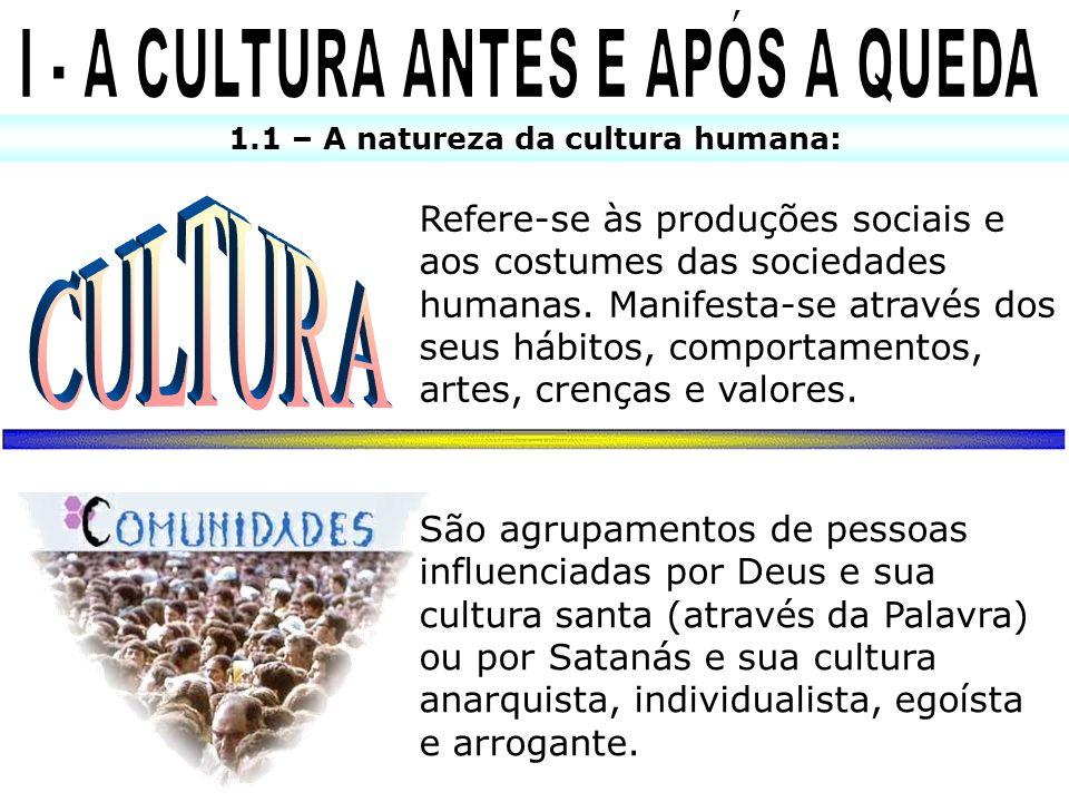 I - A CULTURA ANTES E APÓS A QUEDA 1.1 – A natureza da cultura humana: