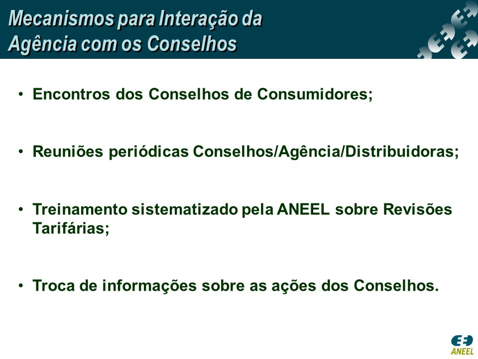 Mecanismos para Interação da Agência com os Conselhos