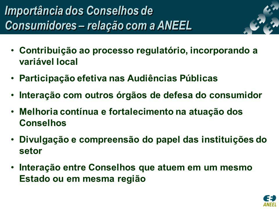 Importância dos Conselhos de Consumidores – relação com a ANEEL