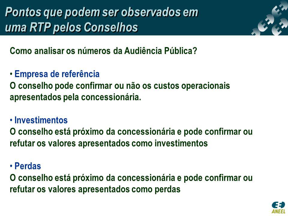 Pontos que podem ser observados em uma RTP pelos Conselhos